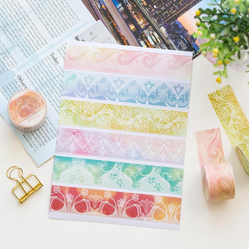 6 pcs lace decoration masking tape set color