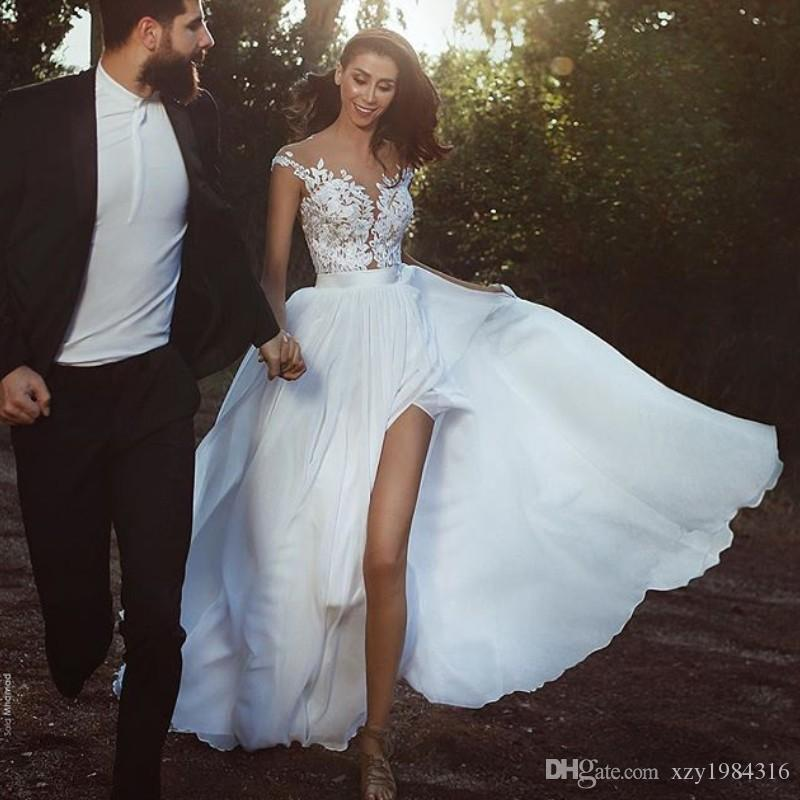 Discount A Line Cheap Chiffon Wedding Dresses See Through Jewel Neck ...
