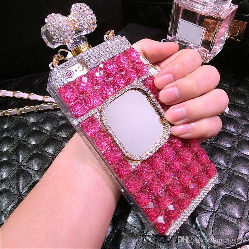For Samsung galaxy s5 s6 s7 s8 s9 edge plus Luxury Diamond Perfume Bottle Bow Rose Mirror chain case