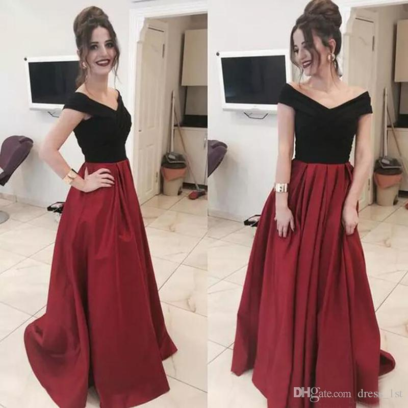 New Fashion 2017 Black Off Shoulder Top Dark Red Satin Prom Dresses Long Cheap  Ruched Formal Dresses Party Evening Wear Custom EN12136 Uk Prom Dress Shops  ... f97510e8b
