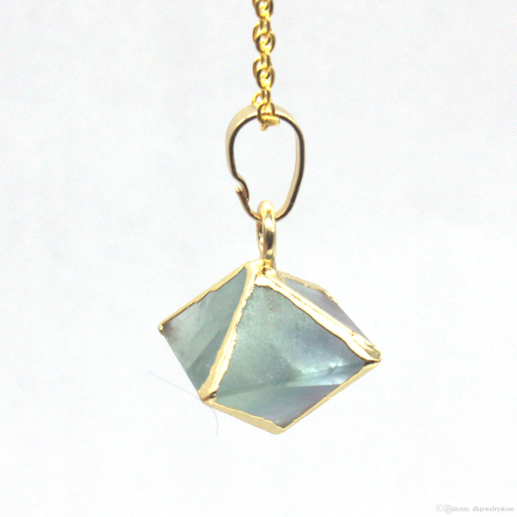 Wholesale Trendy Gold Plated Square Pyramid Green Turquoise Pendant Necklace Link Chain Amethyst Jewelry