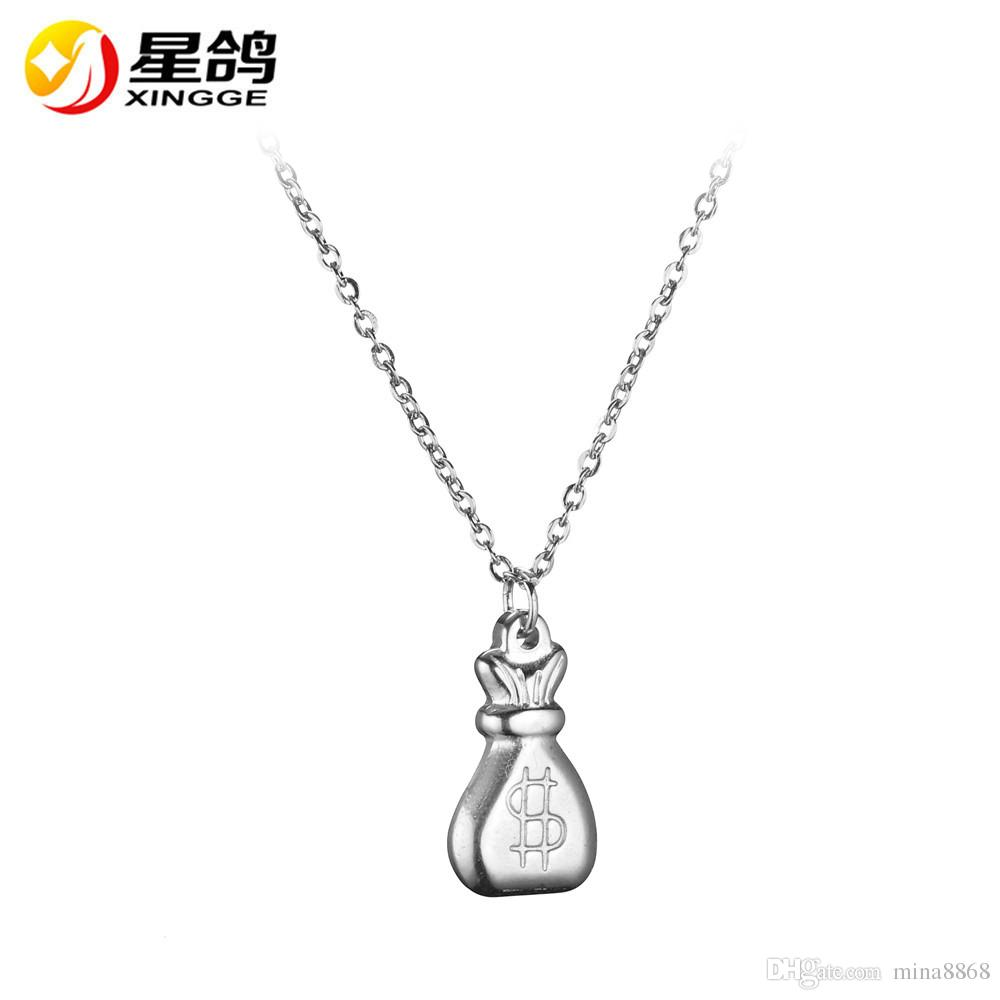 stainless steel Dollar Symbol Pendant necklace for Women men silver/Gold Color Dollar Sign necklace Jewelry Good Luck Gifts