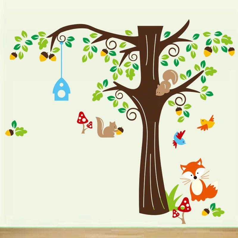 Squirrel Fox Cartoon Wall Sticker Animals Wall Decals Murals for Living Room Kids Room Nursery Home Decor