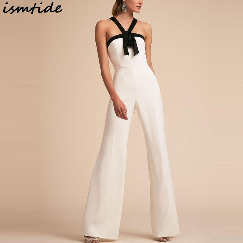 9761d008520 2019 2018 New Backless Jumpsuit Black And White Two Tone Halter Neck Off  Shoulder Spring Summer Women S Overalls Sleeveless Jumpsuit From  Chenhanyang