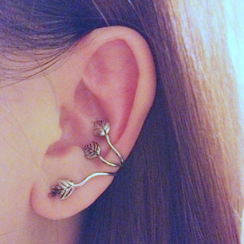 For Women Vintage Alloy Earrings Stud Leaf Design On Earrings Ear Cuff Clip Ear Ring#57697