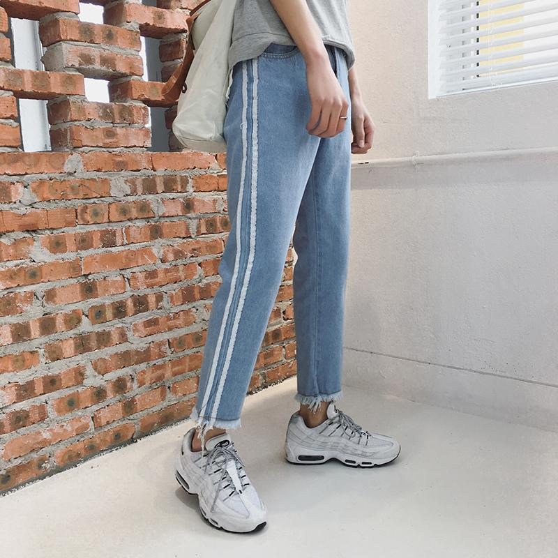 bf7dec49c72 2019 2018 Spring New Pattern Preppy Style Fashion Casual Jeans Slim Homme  Raw Edges Bound Feet Blue Trousers Ankle Length Pants S 2XL From Yabsera