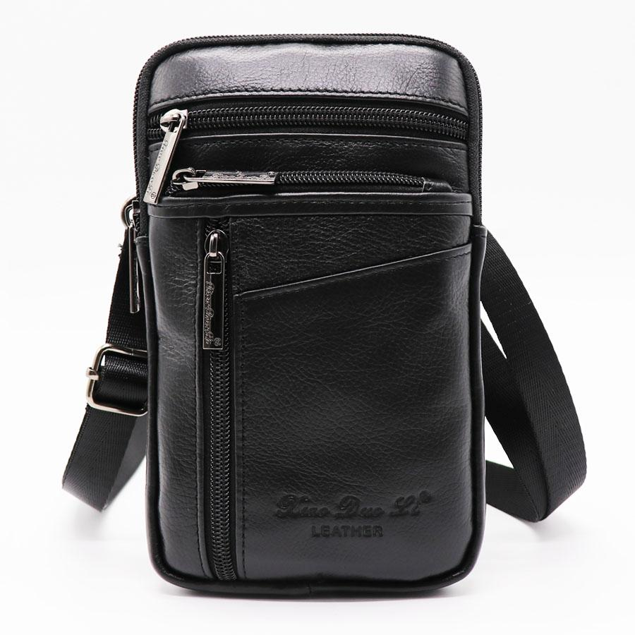 7b08d20b0bf enuine Leather Mini Cross Body Bag Men s Shoulder Messenger Bags Male 7  Cell Phone Case Wallet Hip&Bum Belt Waist Pack