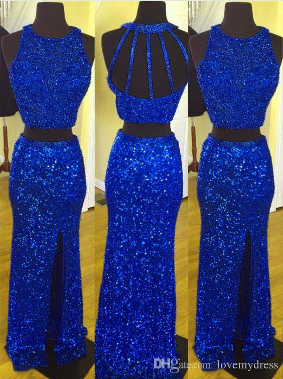 Prom Dress Back Back unico Abito lungo Royal Blue con paillettes in tessuto Due pezzi Jewel Neck con spacco laterale Evening Formal Pageant Dress
