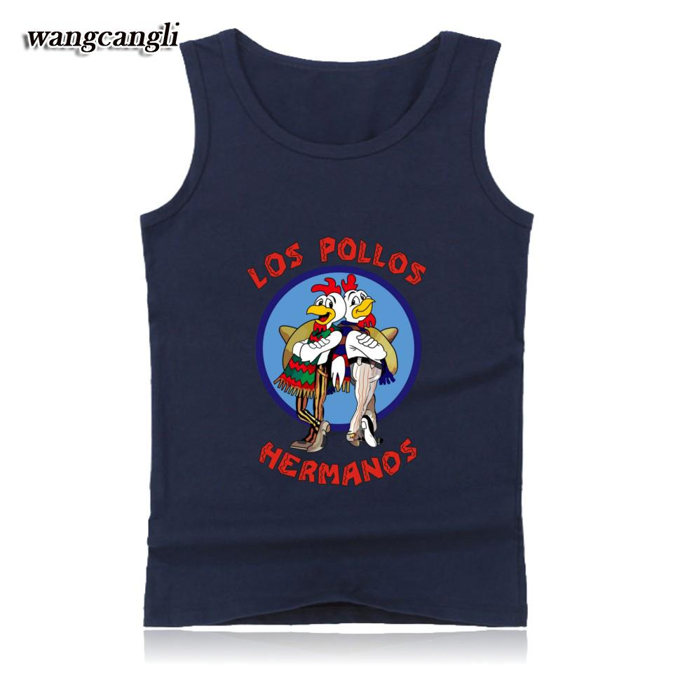 2017 New Arrival Breaking Bad LOS POLLOS Hermanos Tank tops Chicken Brothers summer vest cartoon casual raglan for fans