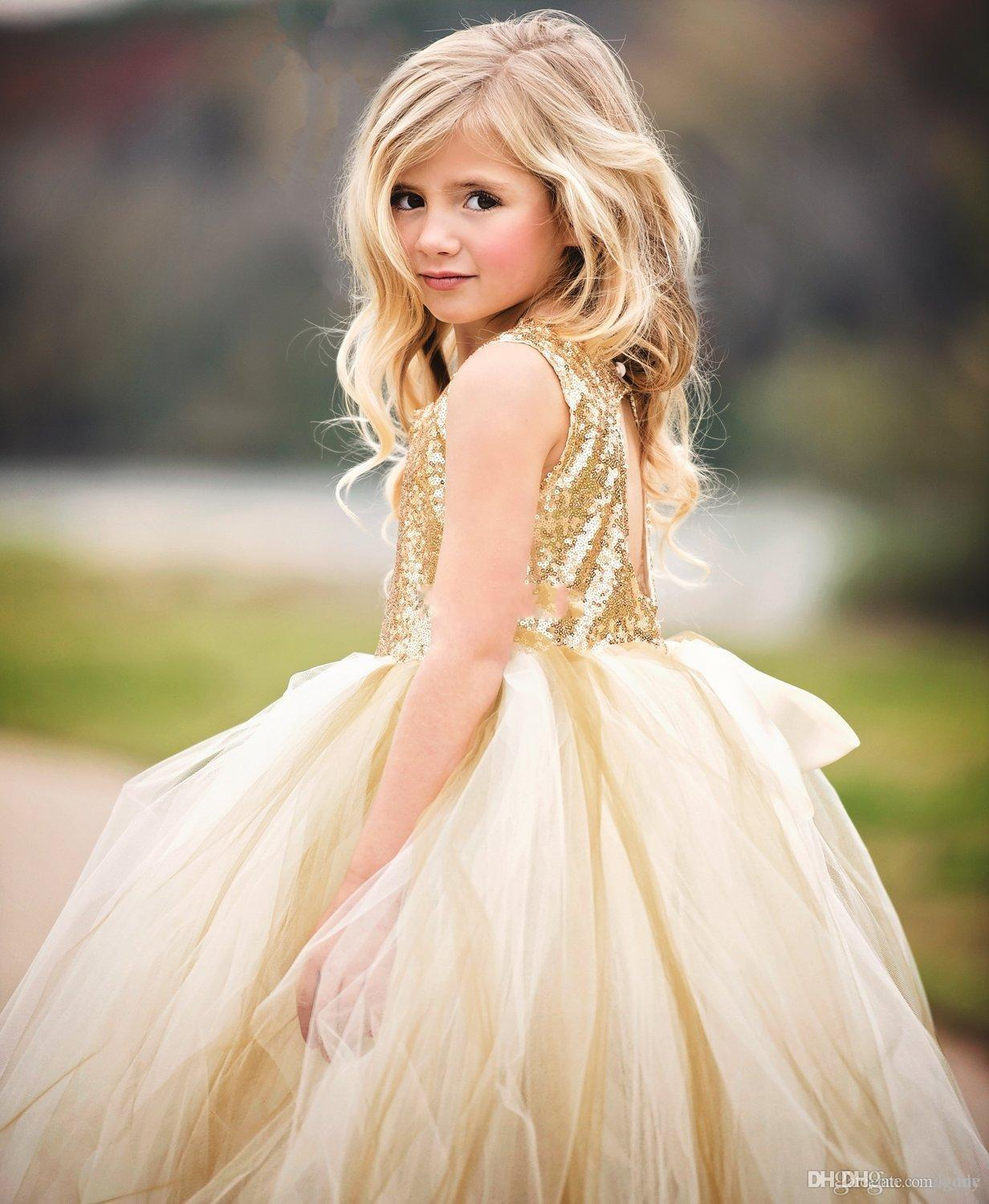Flower Girls Dresses For Weddings Jewel Sequined Top Hollow Back