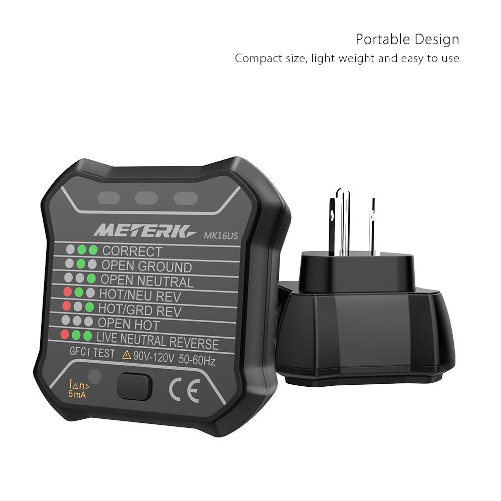 Freeshipping Avanzado GFCI Probador de Enchufes Eléctricos Neutro Automático Cable de Tierra Vivo Prueba de Polaridad Detector Enchufe de Pared