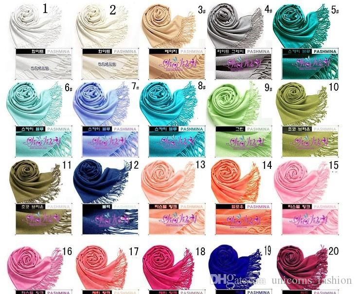 Solid Pashmina Cashmere Shawl Wrap Women's Girls Ladies Scarf Soft Fringes Solid Scarf CNY006