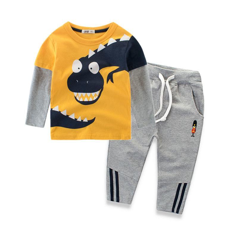 2018 Neuheit Dinosaurier Jungen Sets Kleidung 100% Baumwolle Langarm Kinder T Shirt und Hosen 2 8 Jahre Kinder Kleidung Frühling Herbst Y18102407