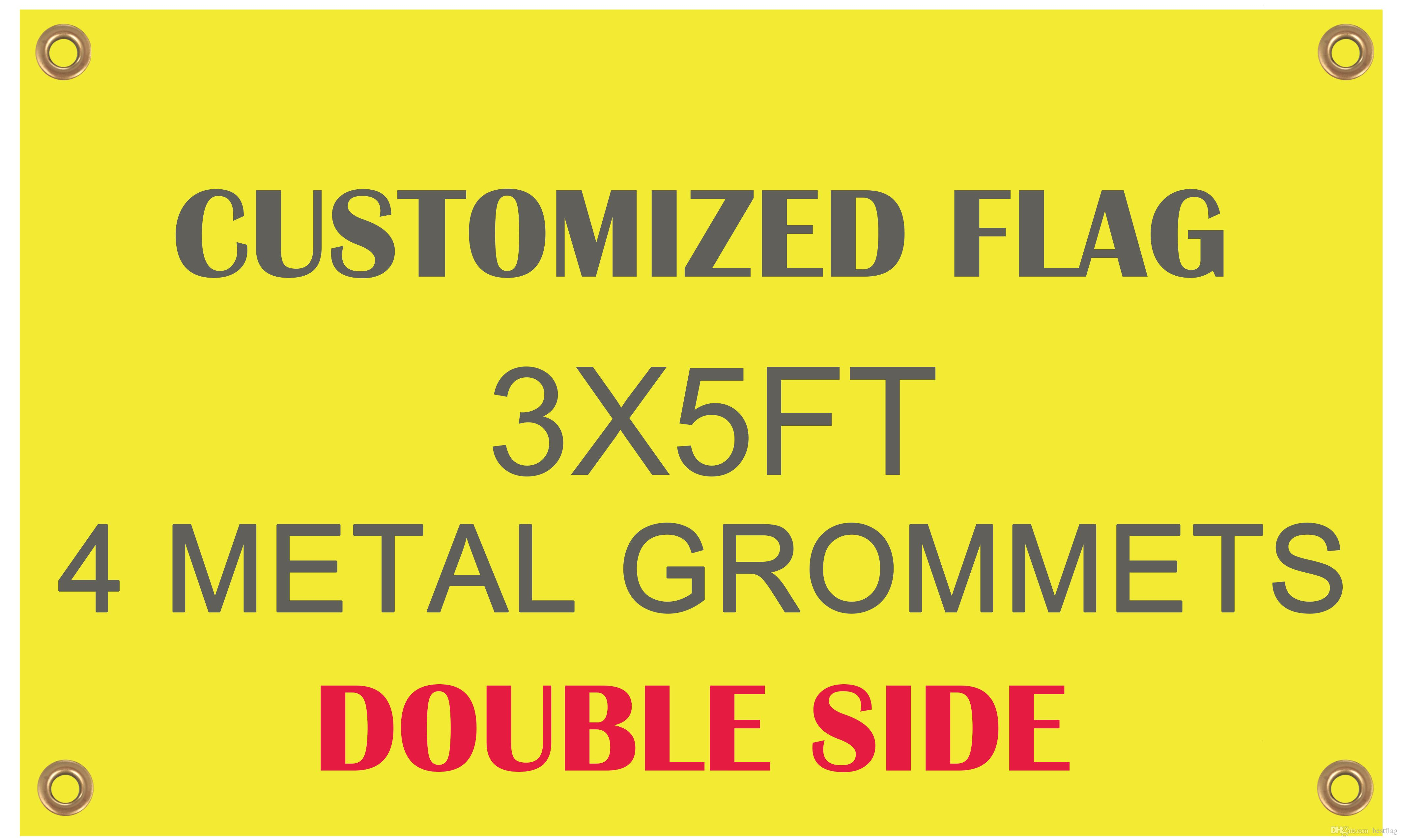 Wholesale Digital Printing Customized Flag Banner Flying Design Double Side  3x5 ft 100D Polyester Banners with Metal Grommets
