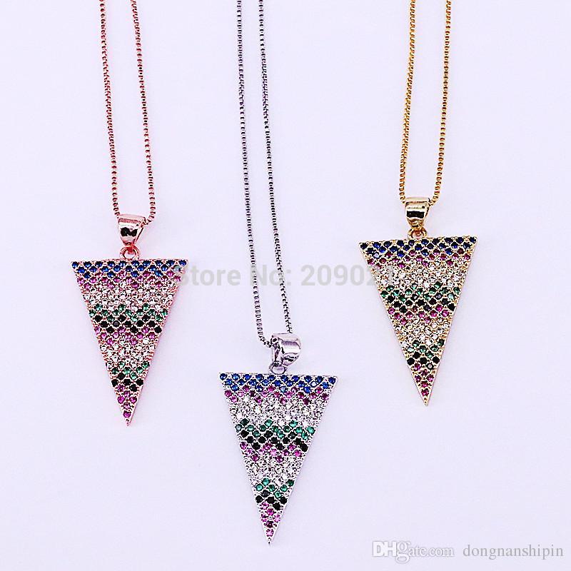 7a1831bdb700 Compre 5 Unids Moda Triángulo Collar Para Las Mujeres Micro Pave Colorido  CZ Collar Colgante De Latón Mujeres Joyería De Cadena A  24.13 Del  Dongnanshipin ...