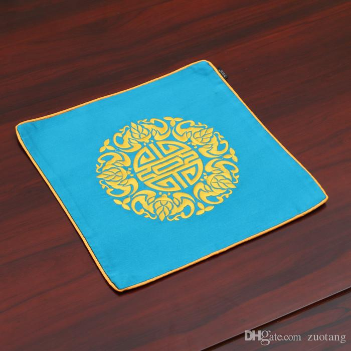 Embroidery Joyous Chinese Silk Vintage Placemat Plate Bowl Square Dining Table Mat Fashion Simple Protective Insulation Pad 26x26 cm