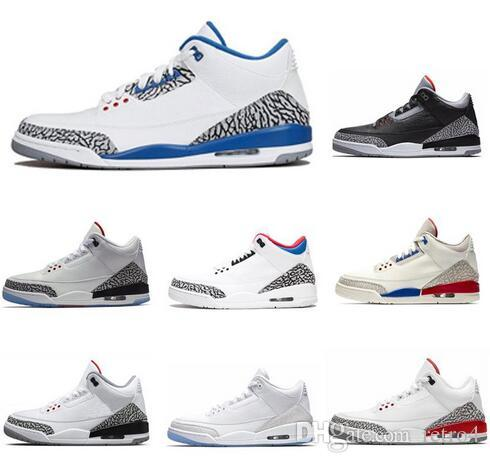 ebf58cd707ad 2018 New 3 Black Cement 3s White Cement 3 OG True Blue 3 Men Basketball  Shoes 3s Wolf Grey Sports Sneakers Mens Trainer New Shoes New Basketball  Shoes 3s ...
