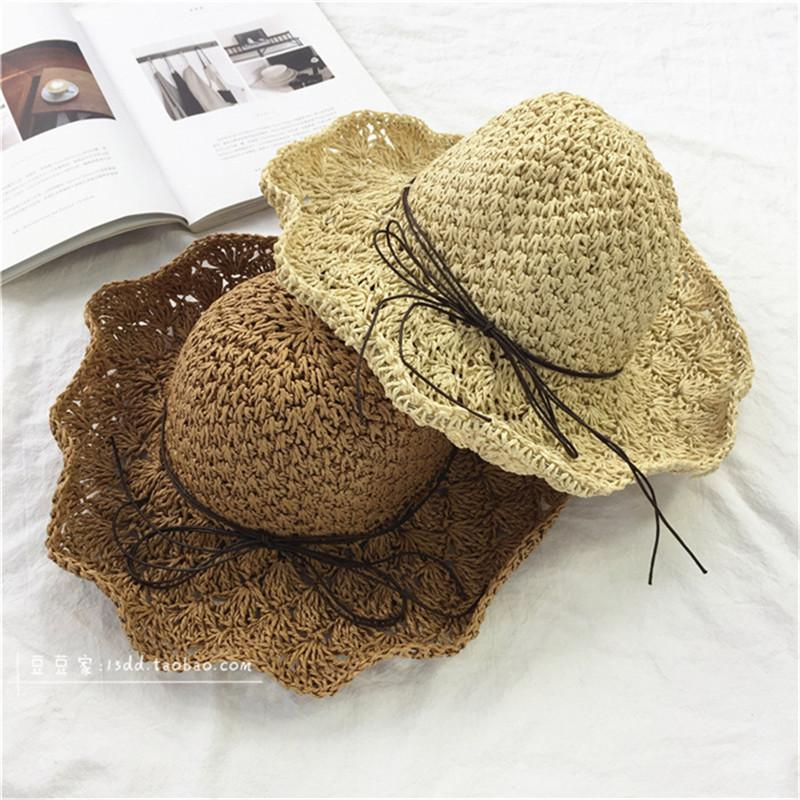1900ac8af3c Hand Made Crochet Weave Straw Hat Foldable Summer Beach Bow Sun Hats For  Women Ladies Outdoor Beach Sun Shade Cap Hats Chapeu Beach Hat Church Hats  From ...