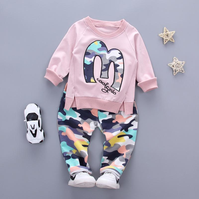 Baby Boy Autumn Clothes Girl Letter M Warm Cotton Clothing Set For Kid Camouflage Jackets Pant Fashion Children Sports Suit