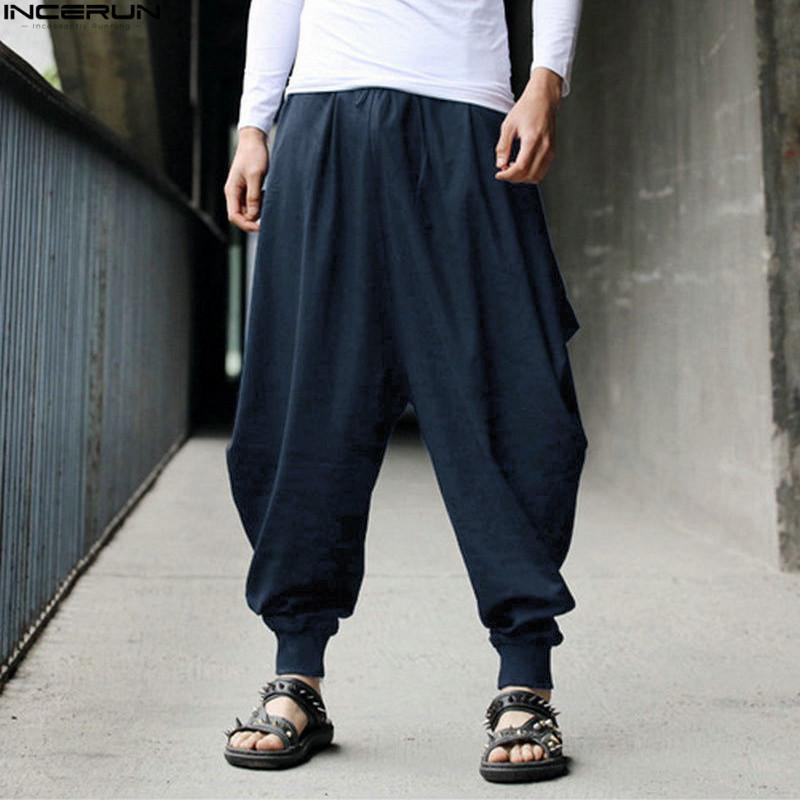 1c2056030ef79f INCERUN Cotton Harem Pants Men Japanese Loose Boho Joggers Trousers Man's  Cross-pants Crotch Pants Wide Leg Baggy Pants Men C18110901