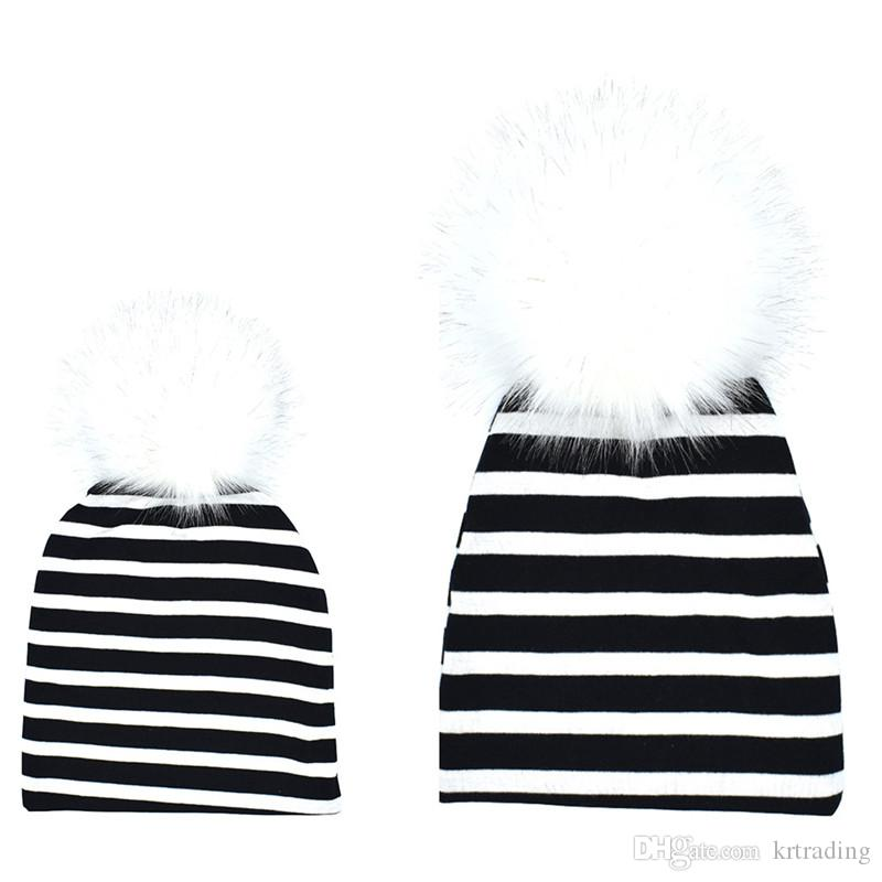 77ddfc09a5d 2019 Parent Child Knitted Fabric Hat Big Pompons Cotton Cloth Cap For Baby  Boys Girls And Mother Cute Family Pompons Hat Ins Hot From Krtrading, ...