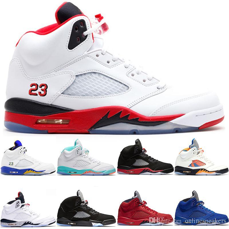 online store c77b1 2d7e2 Nike Air Jordan Retro Zapatos De Baloncesto 5 5s Hombres Mujeres Bred Light  Aqua Laney Rojo Azul Gamuza Blanco Cemento Metálico Negro Nuevo Deporte ...