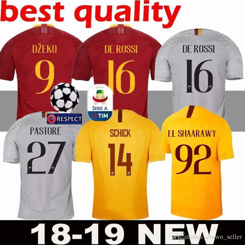 9e4d8da800b 2019 DZEKO PEROTTI PASTORE Soccer Jersey Rome 2019 TOTTI Jerseys 18 19 Football  Shirt Champions League DE ROSSI As Maillot De Foot Roma Away 3rd From ...