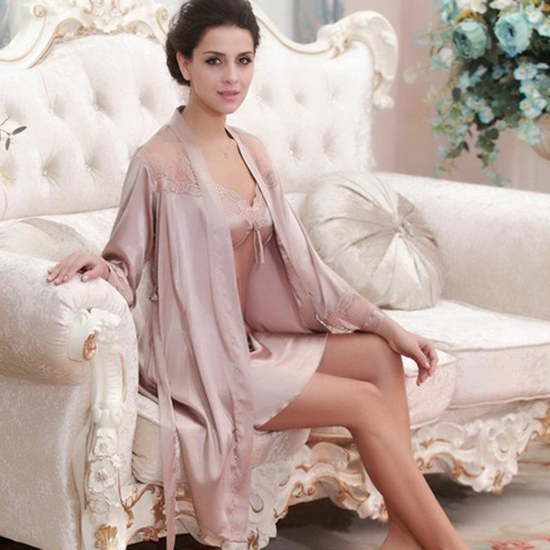 2019 Sexy Silk Night Gown And Robe For Women Solid Satin Robe And Spaghetti  Strap Nighties Dress Full Sleeve Nighty Set From Caicloth 027937857c