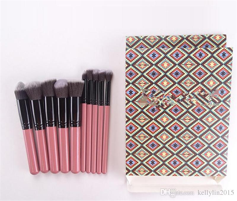 Makeup Brush Set Pink Black Cosmetics Eye Foundation BB Cream Powder Blush Kabuki Brush Kit Make Up Brushes Tools