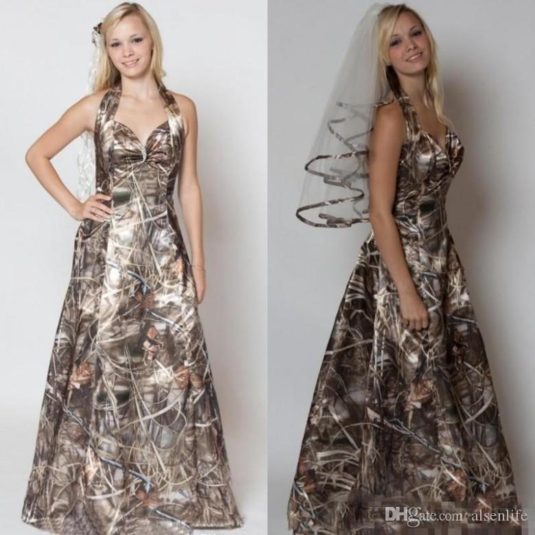 255806409e572 Discount 2018 A Line Camo Wedding Dresses With Free Camo Veils For Bridal  Gowns Simple Morden Realtree Camo Halter Wedding Dresses Simple Wedding  Gowns Uk ...