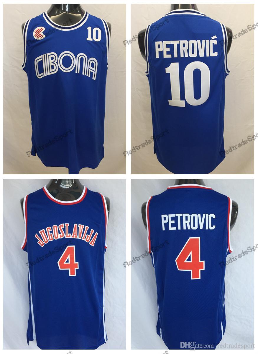 2019 Mens Vintage Croatia  10 Cibona Drazen Petrovic Basketball Jerseys  Cheap Drazen Petrovic  4 Jugoslavija Yugoslavia Croatia Stitched Shirts  From ... ee9aceb6b