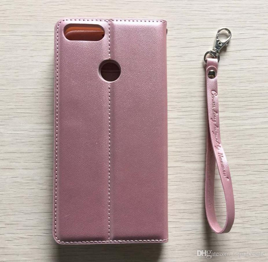 Hanman Yeni Varış Lüks Lambskin Deri Cüzdan Telefon Kapak Çevirin Huawei P Akıllı Için Kılıf
