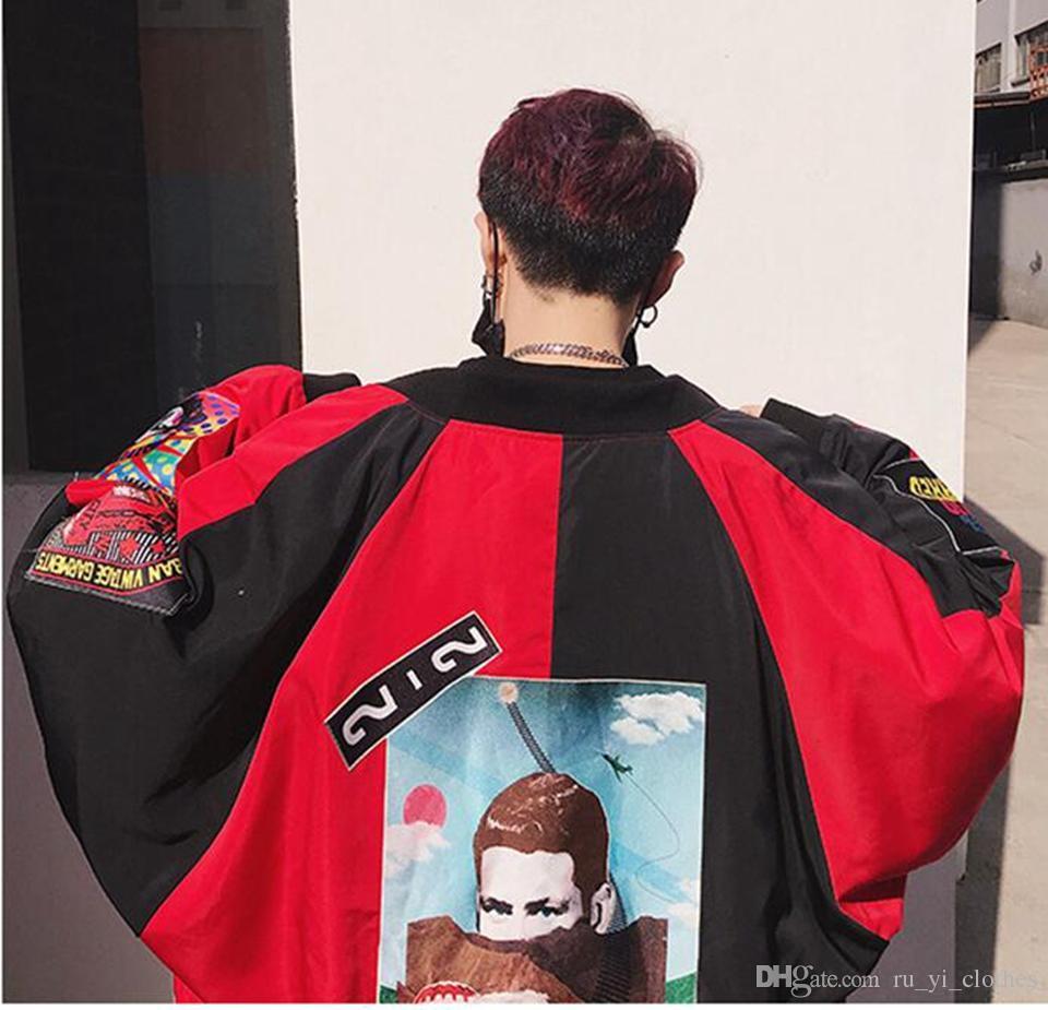 Man han edizione della nuova stagione di età boutique di moda personalità hip-hop apposto panno giacca di corrispondenza colore sciolto S - 2 xl