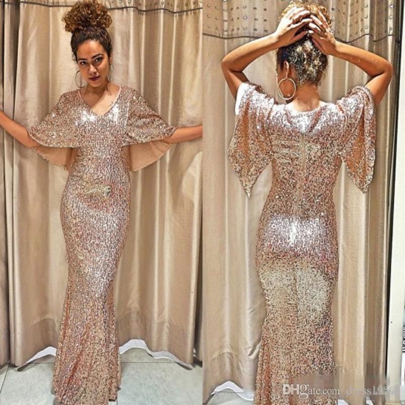 2018 Shinny paillettes arabi abiti da sera sirena speciale donne vestito occasione guaina scollo a V senza maniche abito da promenade madre della sposa abiti