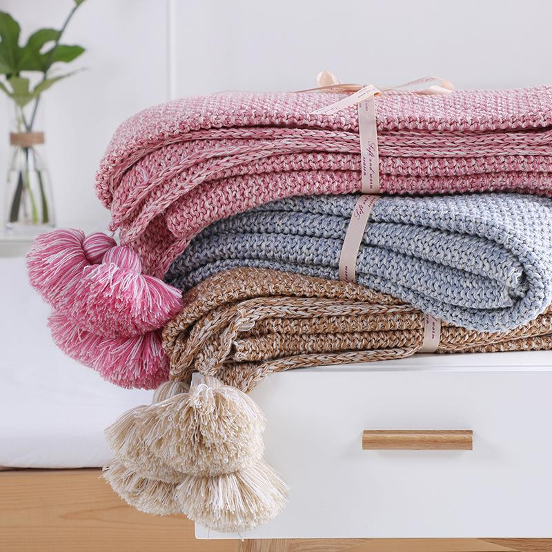 0ed7cb5ded1 New Solid Cotton Knit Blankets With Ball Crochet Blending Anti Pilling  Super Soft Used In Bed Sofa Plane Cobertor Blanket Free Sheepskin Throws  Blankets Big ...
