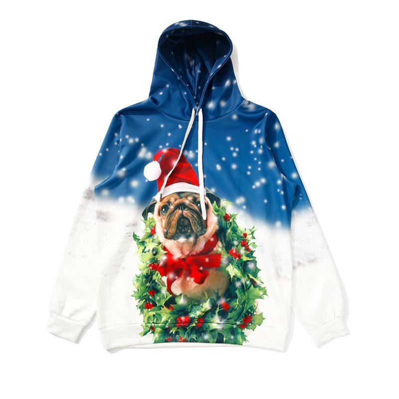 2018 2019 New Snow Christmas Gift Bulldog Hoodies Women Sweatshirt ...
