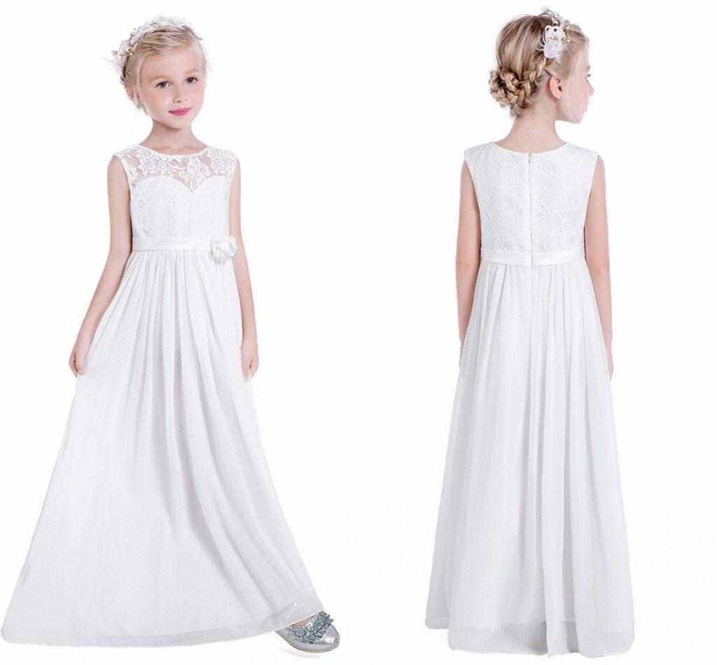 340b6b07f Pretty Lace Flower Girls Dresses Cheap Sheer Neck Chiffon Empire Waist Zipper  Back Floor Length First Communion Dresses White Flower Girl Dresses With  Sash ...