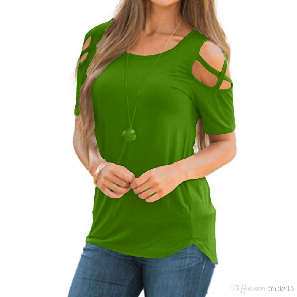 2018 Yaz Yeni Moda kadın T Gömlek Kısa Kollu Katı Delik Kayışı Rahat Pamuklu Tişört Females Tops Boyut S-2XL