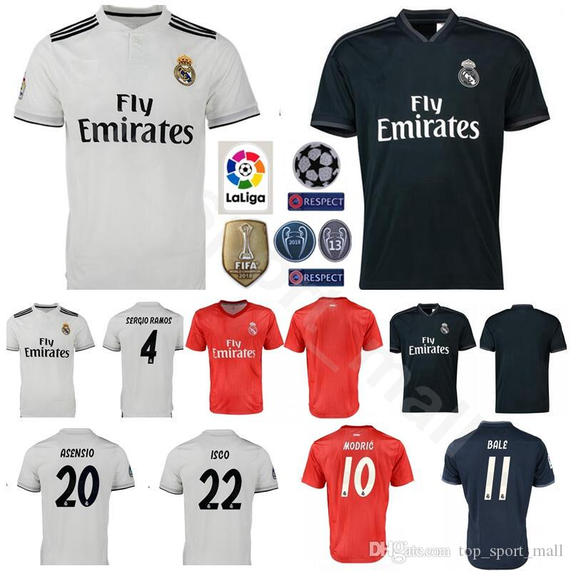 2019 2018 2019 Soccer Real Madrid La Liga 4 SERGIO RAMOS Jersey Men 10  MODRIC 11 BALE 20 ASENSIO 22 ISCO Football Shirt Kits From Top sport mall d3fa8f62f