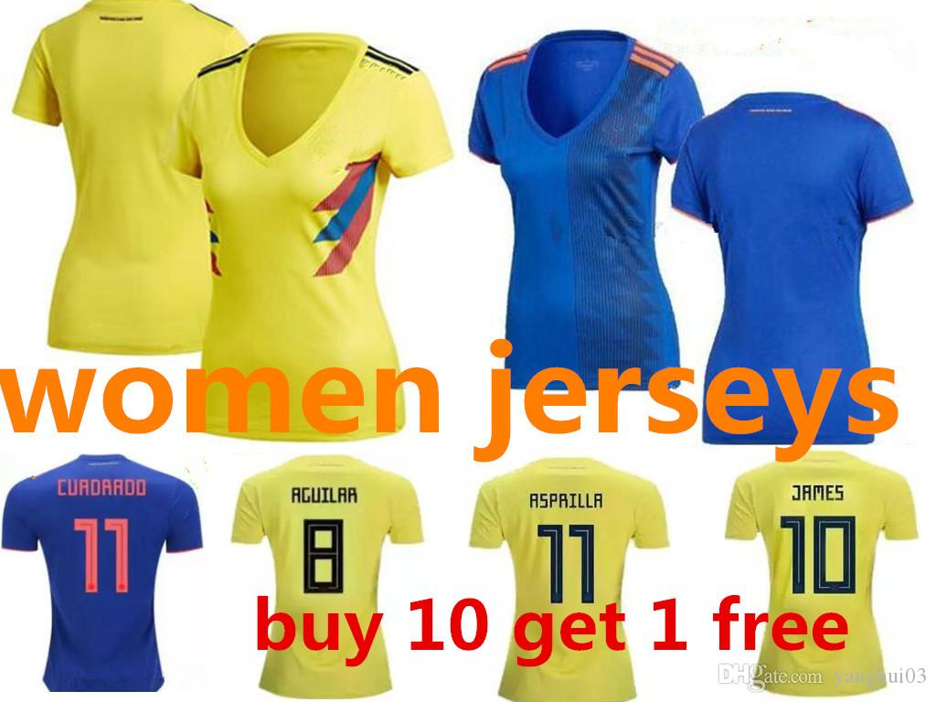 a43833742 2019 WOMEN 2018 World Cup Colombia Yellow Blue Soccer Jersey Colombia Lady  Home Yellow FALCAO JAMES CUADRADO Soccer Uniform Football Shirts From  Yanghui03