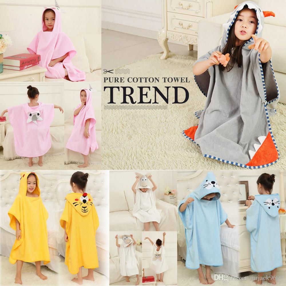 6f548c60260f 2019 Children Bathrobe Baby Kids Pure Color Cotton Cape Cloak Animal ...