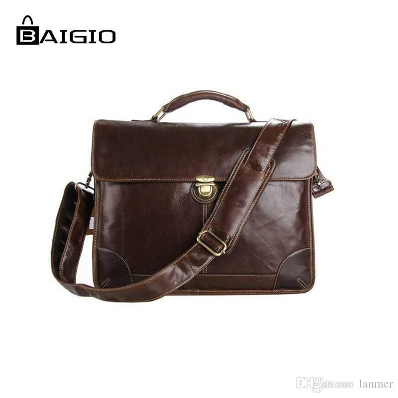 Wholesale- Baigio Men Bag Leather Briefcase 14 Laptop Vintage Brown ... 05d5e28946517