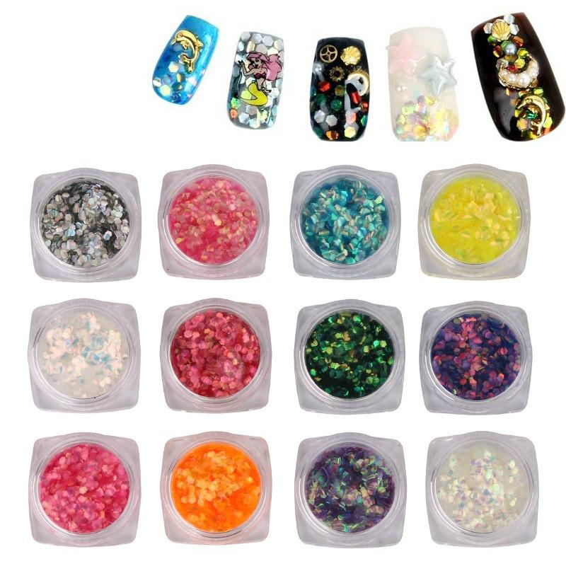 Pinpai Laser Sequins Scaly Nail Glitter Hexagon Spangle Flakes ...