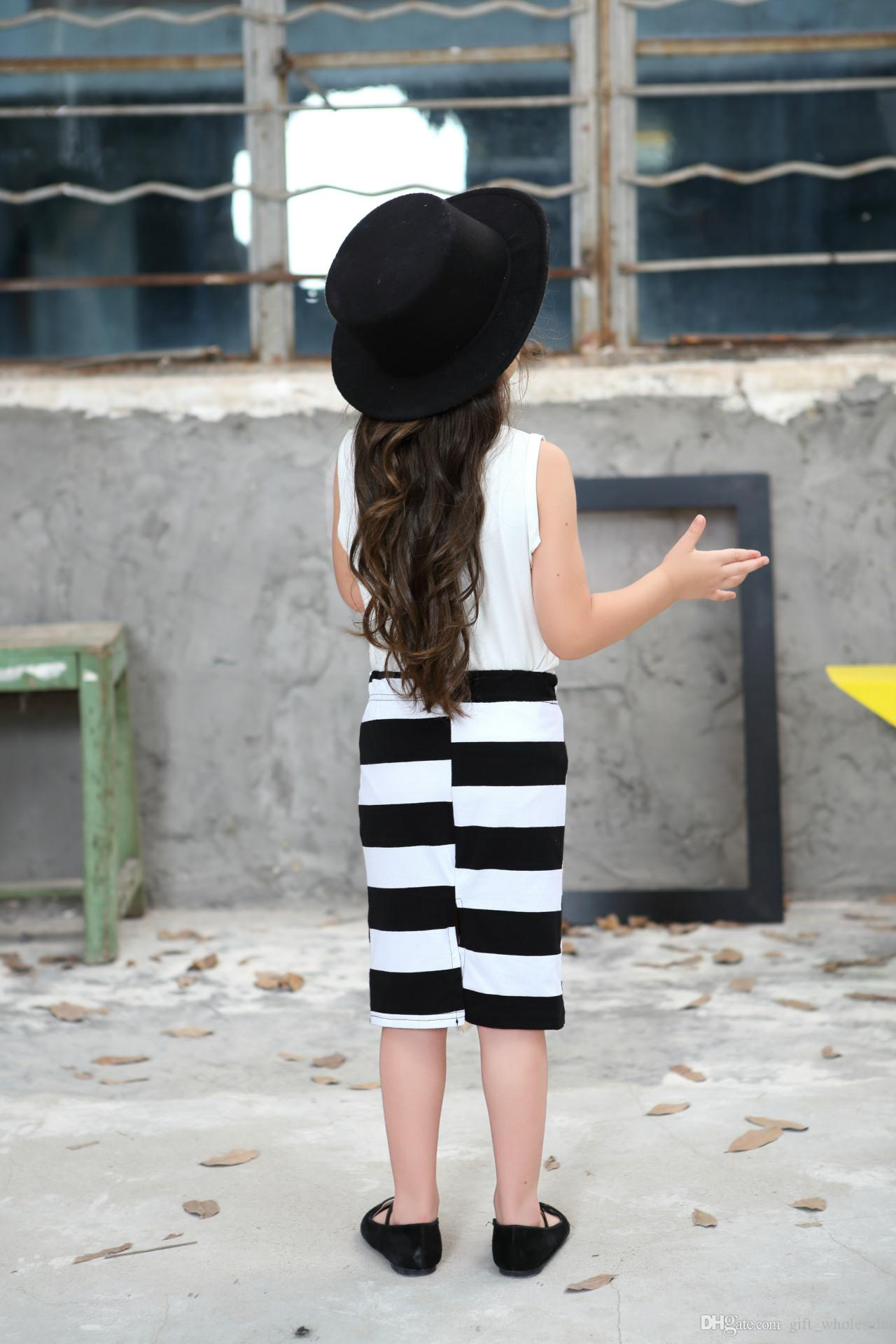 100-140cm new pattern fashion movement summer dress girls clothes baby black and white striped dress children Clothing