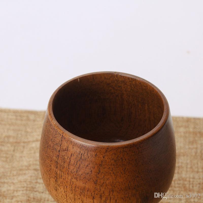 Nueva Natural copas de vino de madera creativa del cáliz de viaje portátil beber cerveza taza de té de la leche de alta calidad de 13 5xw XC