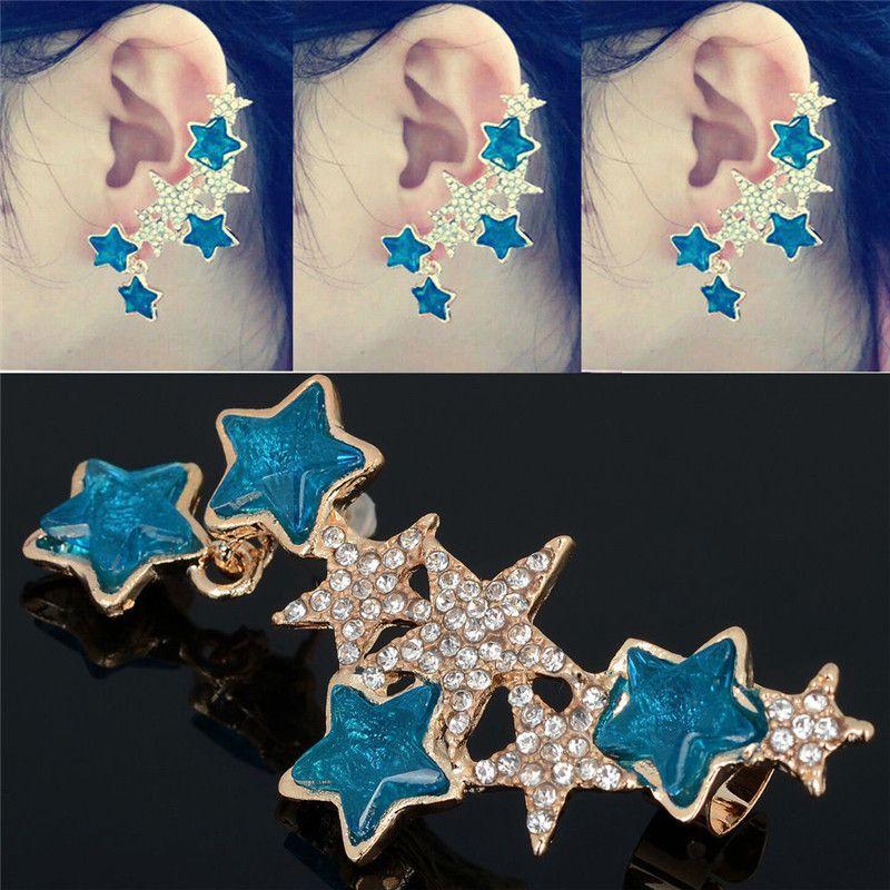 1 UNID Moda Caliente Barridos Clear Blue Crystal Star Ear Cuff Clip Izquierdo En Cartílago Ear Cuff Punk Pendiente Joyería de Las Mujeres Gota Libre