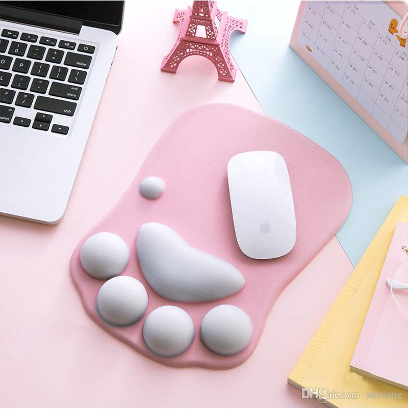 Newest 3D Cartoon Mouse Pad Cute Cat Claw Thickening Laptop Wrist Rest Protection Pad Silicone Anti-skid Mice Pad Office Support Mat