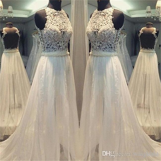Иллюзия лиф шнурка BOHO Свадебные платья Sheer платья шеи Pearls Ivory Шифон Backless Пляж Люкс