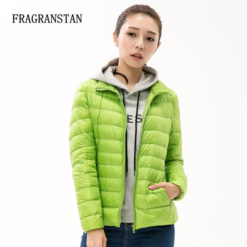 90% White Duck Down Jacket New Fashion Women Winter Waterproof Light Warm Solid Color Parkas Large Size Slim Coat 11 Colors Sale L18100902