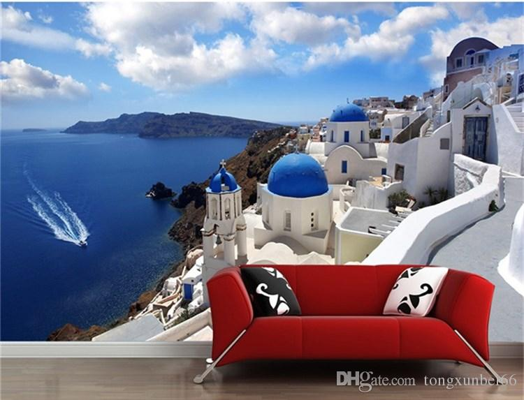 Large mural wallpaper wallpaper sitting room sofa bedroom TV setting wall is contemporary and contracted Greek Aegean sea